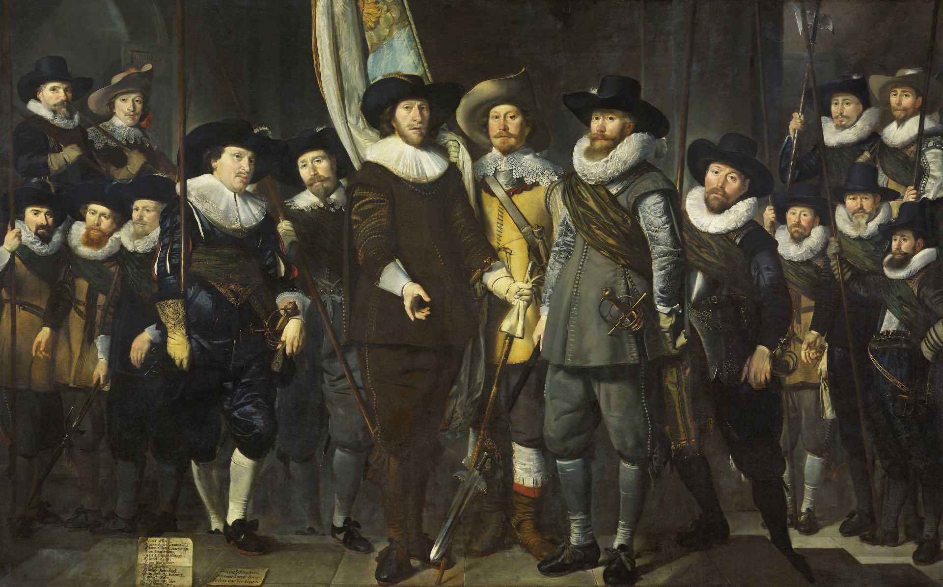 schuttersstuk met kapitein Allaert Cloeck en luitenant Lucas Jacobsz. Rotgans door Thomas de Keyser