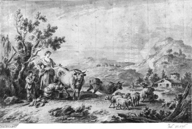 Guiseppe Zaïs - Landschap met vee en figuren